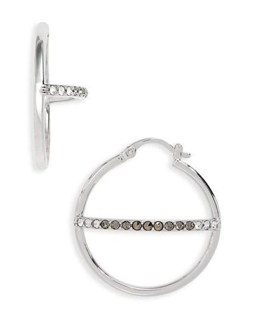Judith Jack - Metallic Silver Sparkle Hoop Earrings - Lyst