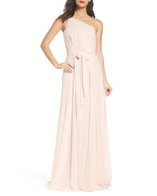 Lyst - Amsale One-shoulder Chiffon A-line Gown in Pink