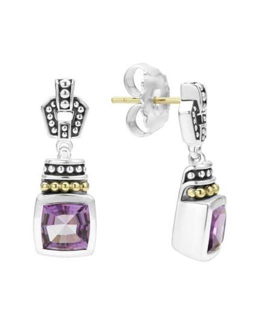 Lagos | Metallic 'caviar Color' Square Semiprecious Stone Drop Earrings | Lyst