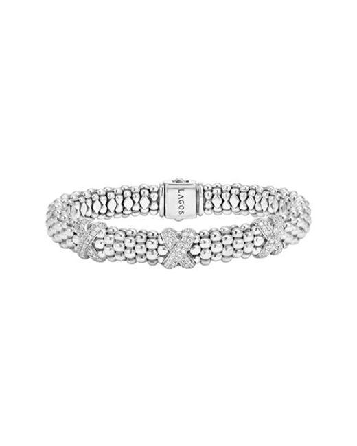 Lagos | Metallic 'x' Diamond Caviar Rope Bracelet | Lyst