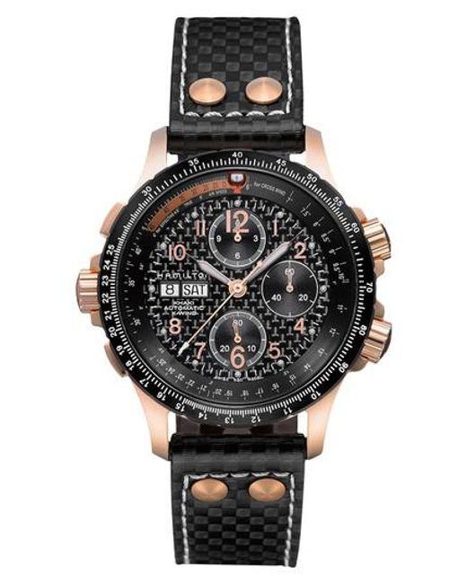 Hamilton - Black Khaki X-wind Automatic Chronograph Leather Strap Watch for Men - Lyst
