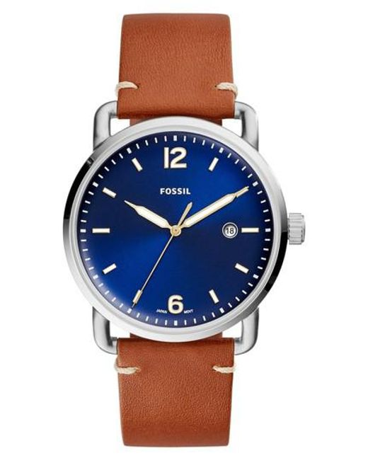 Fossil   Blue The Commuter Leather Strap Watch   Lyst