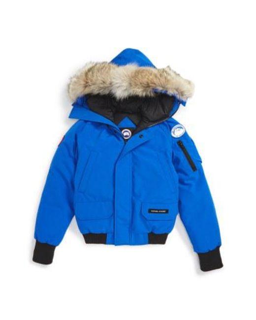 Canada Goose - Blue Fur Long Sleeve Bomber Jacket for Men - Lyst