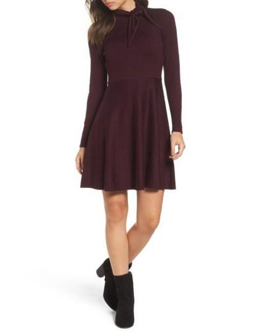 Eliza J | Purple Tie Neck Fit & Flare Dress | Lyst
