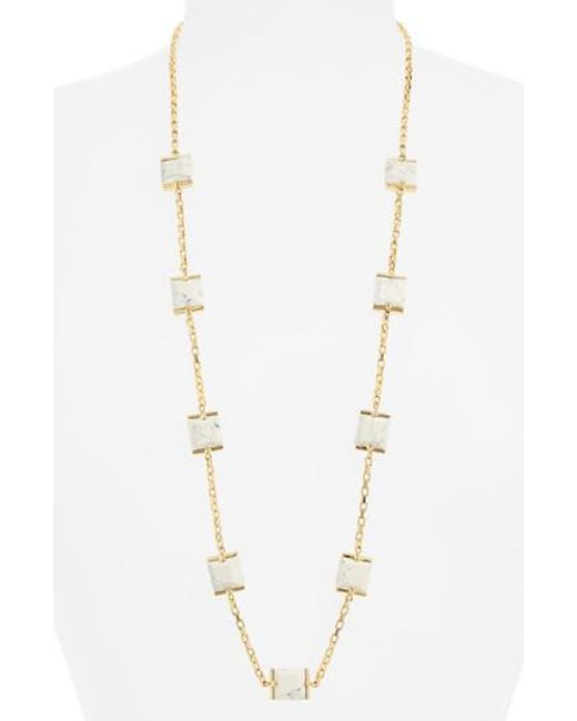 Lele Sadoughi - Metallic Rosary Faceted Marble Cube Necklace - Lyst