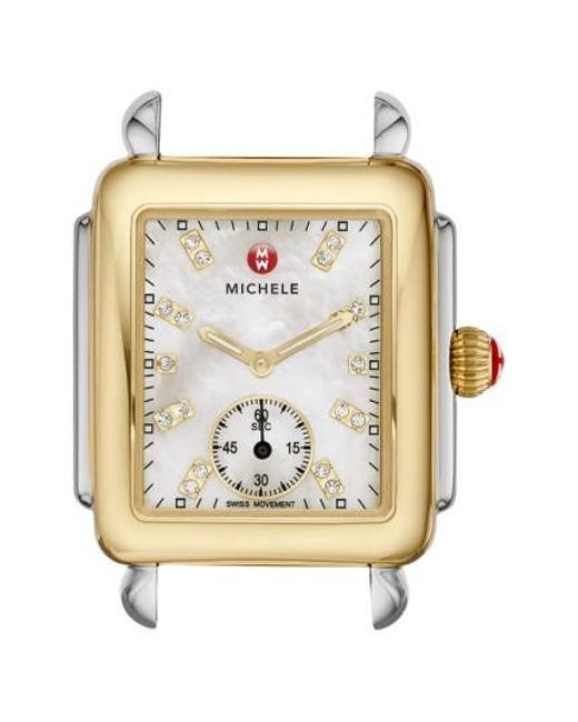 Michele - Metallic Deco 16 Diamond Dial Two-tone Watch Case - Lyst
