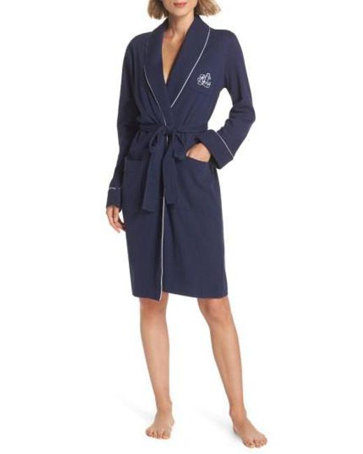Lauren by Ralph Lauren | Blue Quilted Collar Robe | Lyst