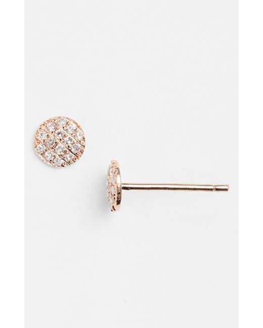 Dana Rebecca | Pink 'lauren Joy' Diamond Disc Stud Earrings | Lyst
