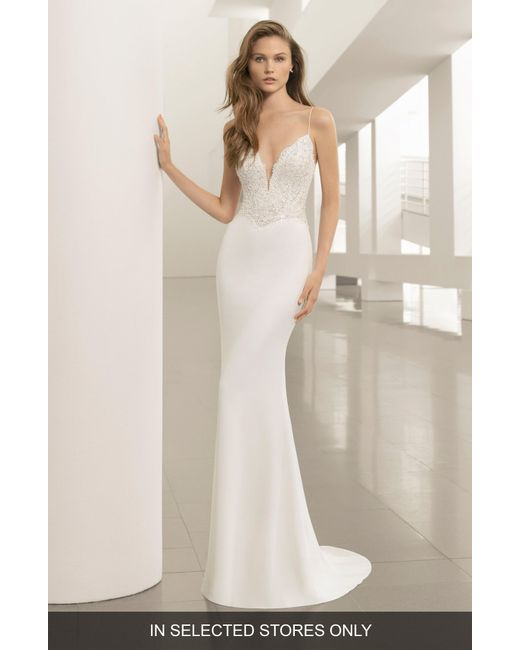 ROSA CLARA COUTURE - Natural Pravia Lace & Crepe Plunge Gown - Lyst
