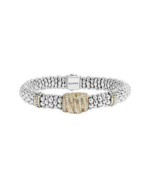 Lagos | Metallic 'diamonds & Caviar' Diamond Rope Bracelet | Lyst