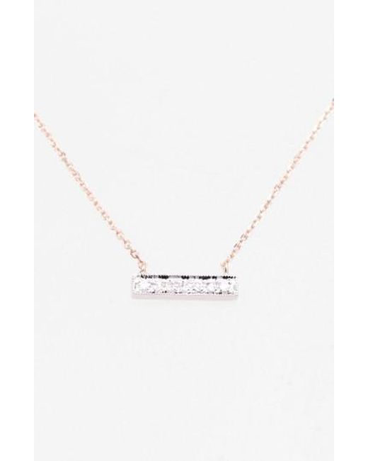 Dana Rebecca | Pink 'sylvie Rose' Diamond Bar Pendant Necklace | Lyst