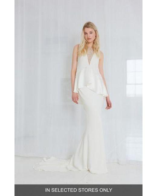 Amsale - White Sia Satin Two-piece Gown - Lyst