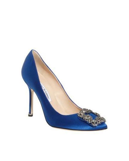 Manolo Blahnik | Blue 'hangisi' Jewel Pump | Lyst