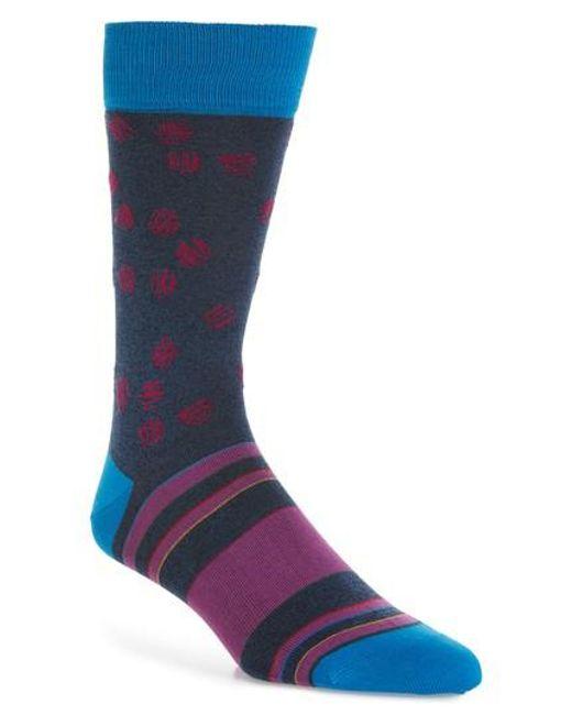 Bugatchi - Blue Cotton Blend Socks for Men - Lyst