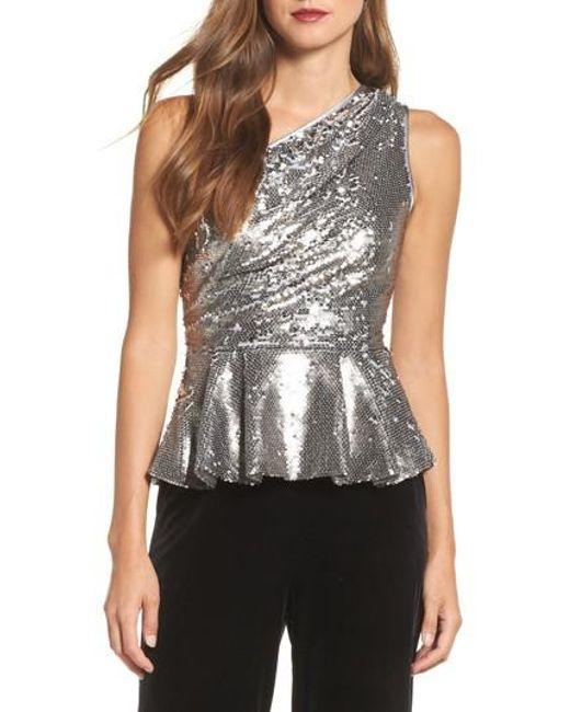 Eliza J | Metallic One-shoulder Sequin Peplum Top | Lyst