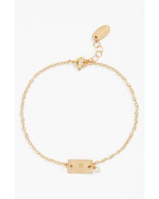 Nashelle   Metallic Shaka Initial 14k-gold Fill Bar Bracelet   Lyst