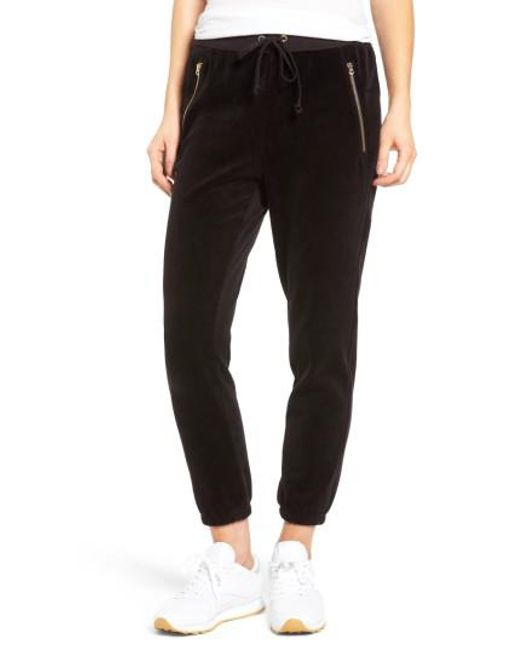 Juicy Couture | Black Silverlake Velour Track Pants | Lyst
