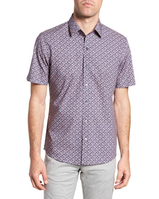 Zachary Prell - Purple Brice Trim Fit Scribble Print Sport Shirt for Men - Lyst