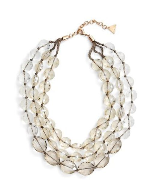 Serefina | Metallic Triple Strand Crystal Statement Necklace | Lyst