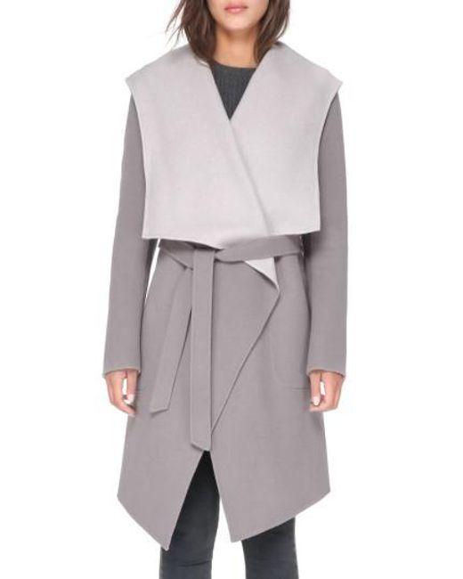 SOIA & KYO | Gray Reversible Double Face Wool Blend Coat | Lyst
