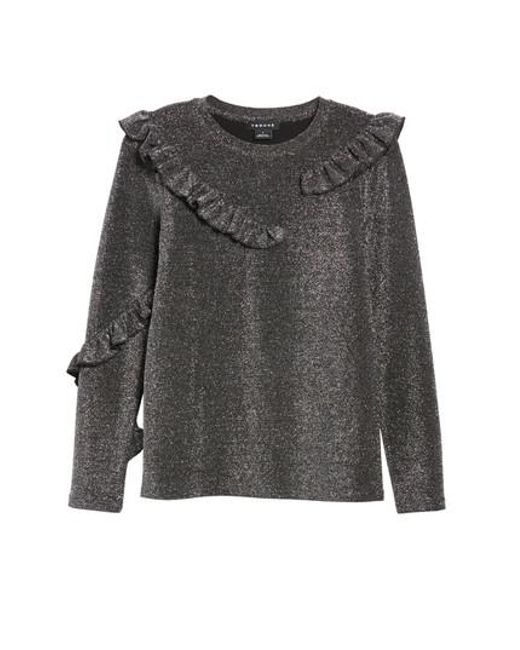 Trouvé | Gray Ruffle Metallic Top | Lyst