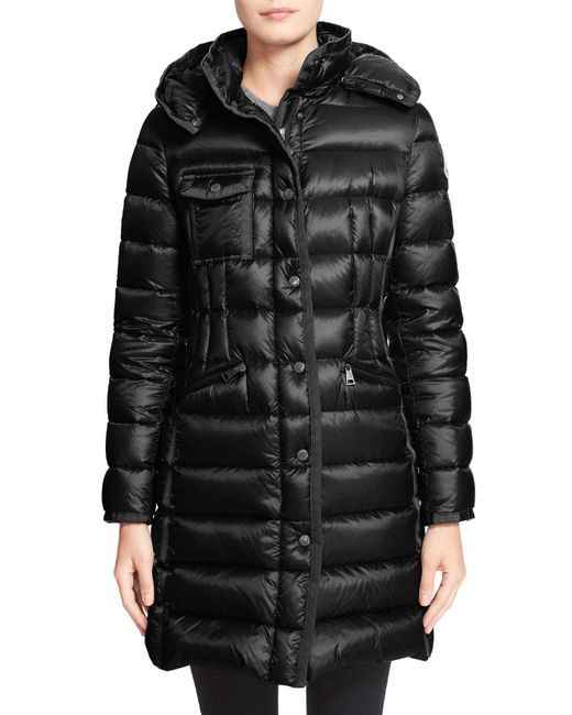Moncler - Green 'Hermine' Grosgrain Trim Down Coat - Lyst