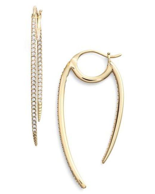 Nadri   Metallic 'crescent' Linear Hoop Earrings   Lyst