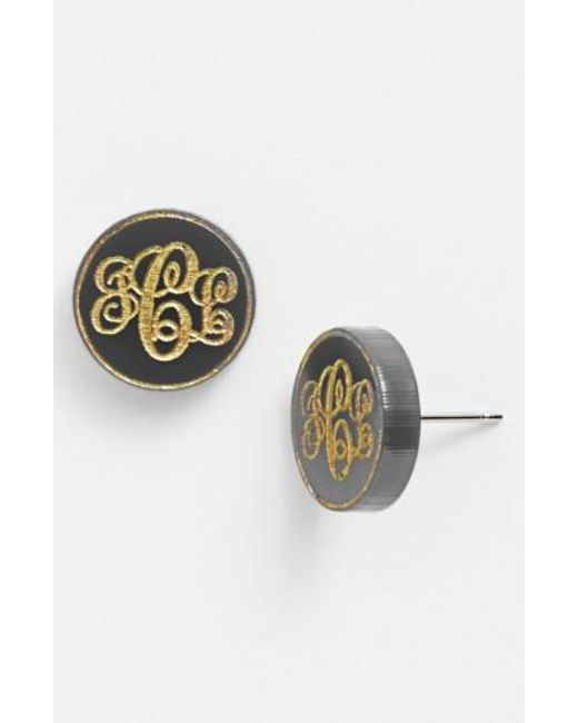 Moon & Lola | Metallic 'chelsea' Small Personalized Monogram Stud Earrings (nordstrom Exclusive) | Lyst