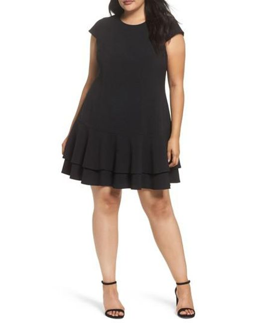 Eliza J - Black Crepe Drop Waist Dress - Lyst