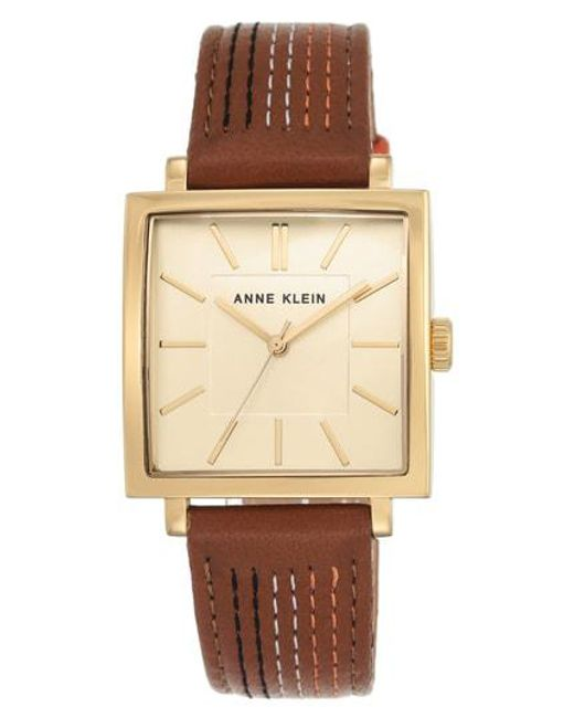 Anne Klein - Multicolor Square Leather Strap Watch - Lyst