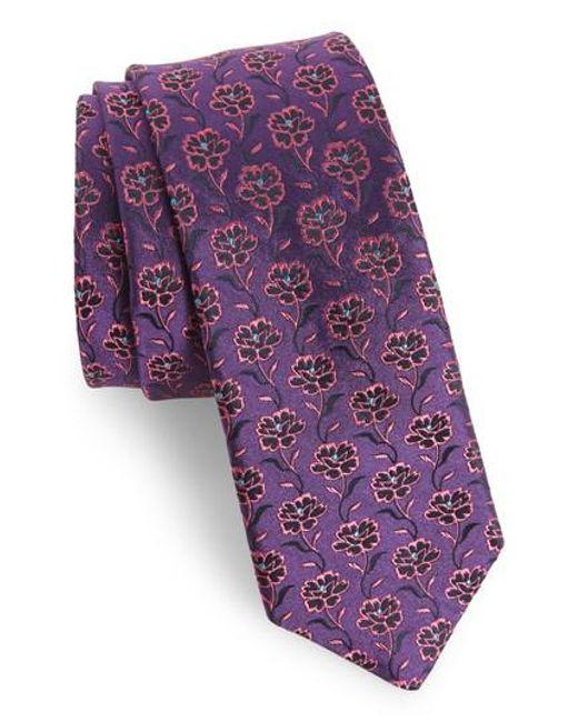 Ted Baker | Purple Floral Silk Tie for Men | Lyst