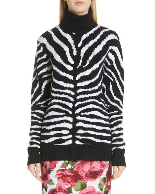 Michael Kors - Black Intarsia Zebra Print Cashmere Sweater - Lyst