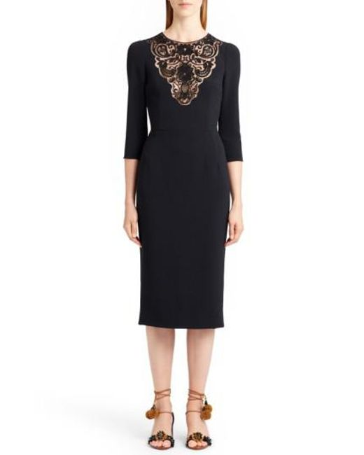 Dolce & Gabbana | Black Lace Inset Sheath Dress | Lyst