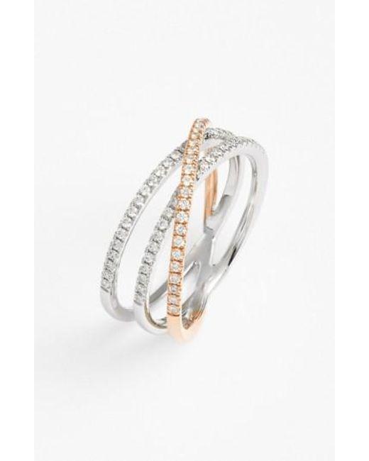Bony Levy | Metallic Crossover Three-row Diamond Ring (nordstrom Exclusive) | Lyst
