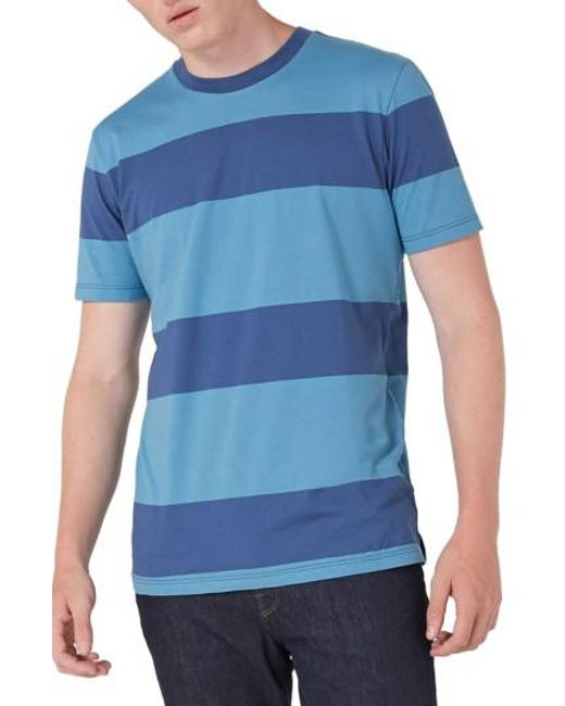 Topman | Blue Stripe T-shirt for Men | Lyst