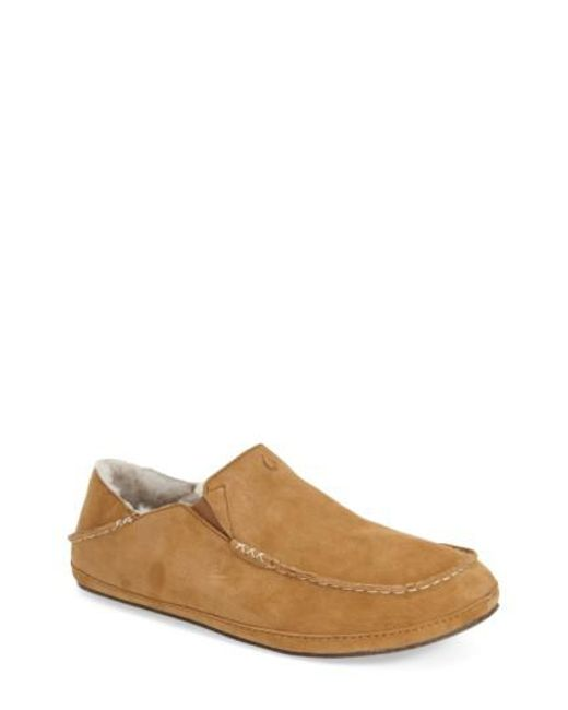 Olukai | Brown 'moloa' Genuine Shearling Slipper for Men | Lyst