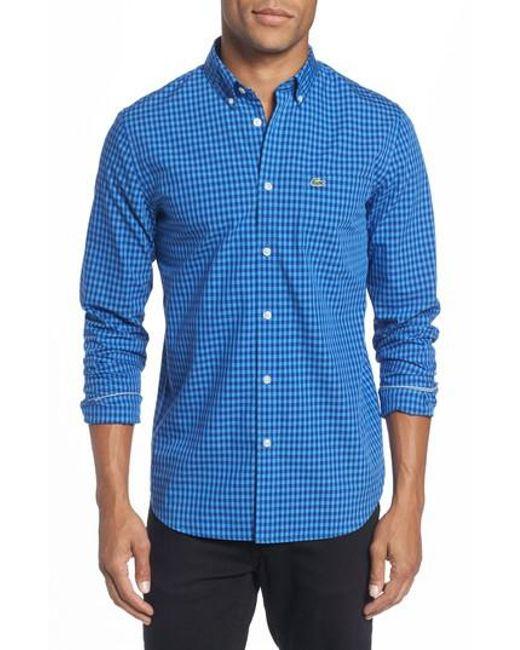 Lacoste   Blue Gingham Check Poplin Shirt for Men   Lyst