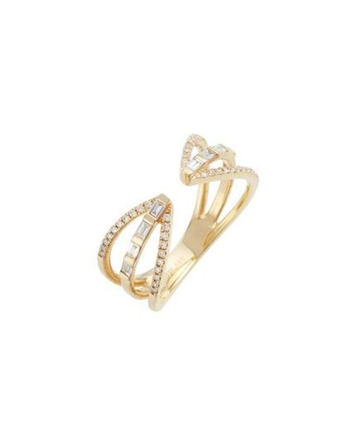 EF Collection - Metallic Open Baguette Queen Diamond Ring - Lyst