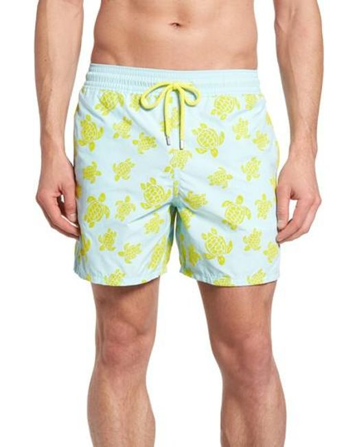 Vilebrequin - Blue Moorea Flocked Turtles Print Swim Trunks for Men - Lyst