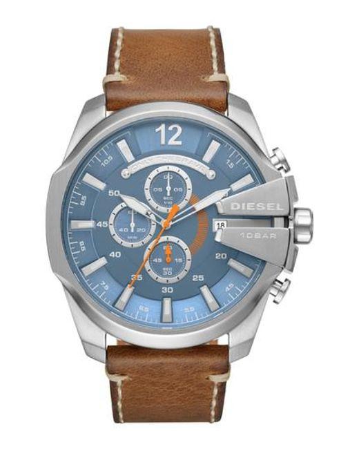 DIESEL | Blue Diesel Mega Chief Chronograph Leather Strap Watch for Men | Lyst