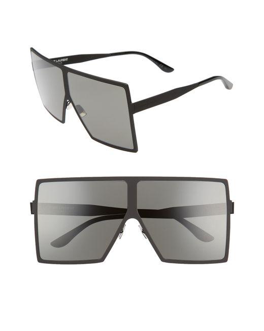 Saint Laurent - Gray Betty 68mm Metal Shield Sunglasses - - Lyst