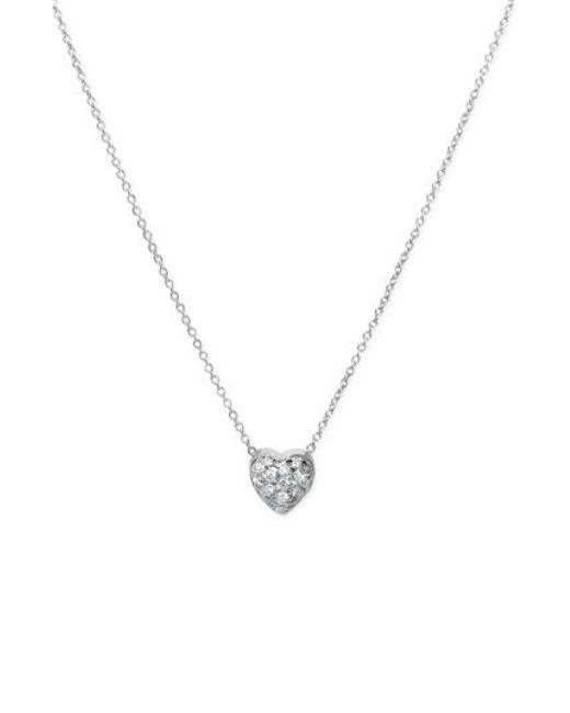Roberto Coin | Metallic 'tiny Treasures' Diamond Heart Pendant Necklace - Puffed Heart | Lyst