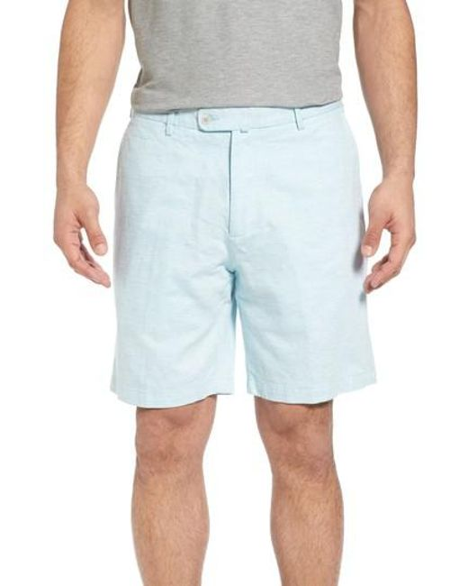 Peter Millar - Blue Crown Cool Delave Flat Front Shorts for Men - Lyst