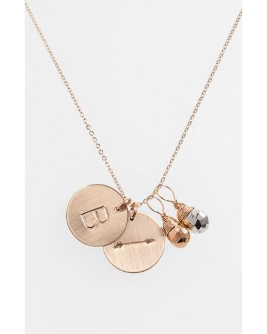Nashelle - Metallic Pyrite Initial & Arrow 14k-gold Fill Disc Necklace - Lyst