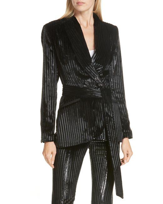 Smythe - Black Velvet Stripe Tie Waist Blazer - Lyst