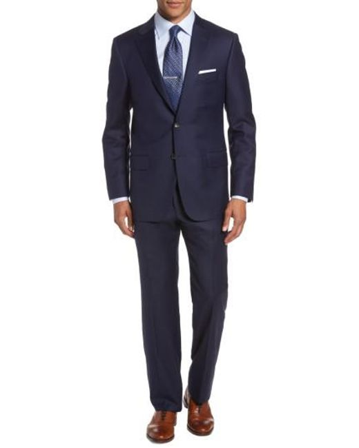 Hickey Freeman - Blue Classic Fit Solid Wool Suit for Men - Lyst
