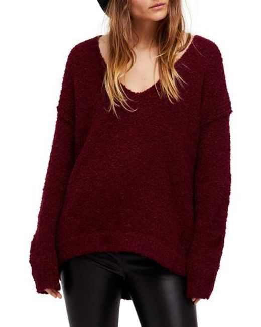 Free People - Red Lofty V-neck Sweater - Lyst