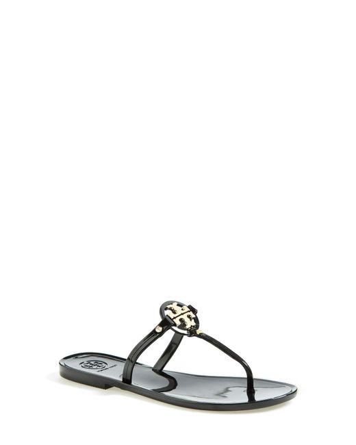 Tory Burch - Black 'mini Miller' Flat Sandal - Lyst