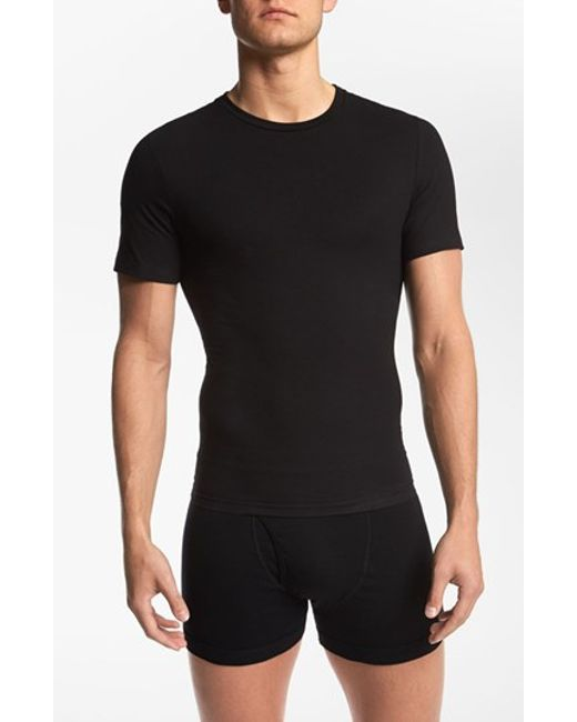 Spanx | Black Spanx Crewneck Cotton Compression T-shirt for Men | Lyst