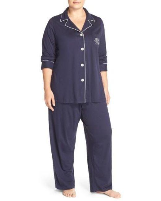 Lauren by Ralph Lauren | Blue Knit Pajamas | Lyst